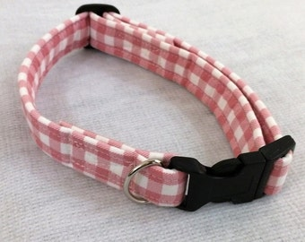 Dog collar, pink check