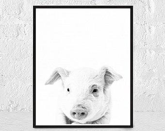Nursery animal print, baby pig print,nursery decor,animal art,baby animals,nursery wall art, kids art,baby animal, black and white