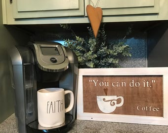 Hand painted framed plywood Coffee sign