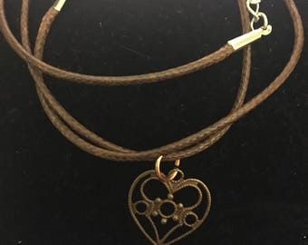 Heart and flower necklace