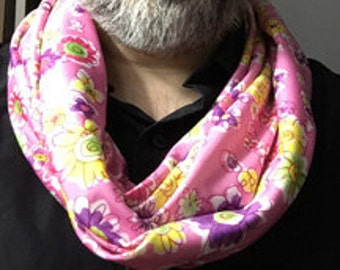 Pink Flower Print Infinity Scarf