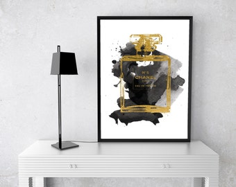 PRINTABLE Chanel Perfume Bottle Watercolour, Art Print, Black, gold, Coco Chanel, no 5, number 5, Watercolor, Fashion Illustration