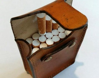 leather cigarette case, Сigarette holder,   Gifts for smokers, Tobacco pouch,