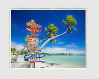 Large Modern Wall Art - Sands, Palm Trees and Caribbean Water, Beach Art, Canvas PRINT, Beach House, Home Decor.