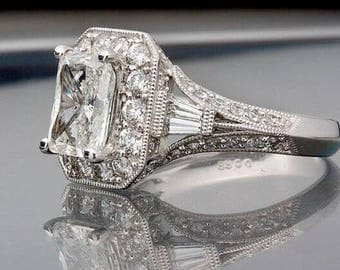 Vintage 2.65 Carat Radiant Cut Diamond Halo Engagement Ring In 14K White Gold
