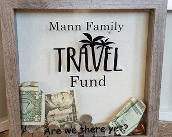 Personalized travel fund shadow box, custom shadow box, vacation fund, savings, family vacation, money bank, adventure fund,