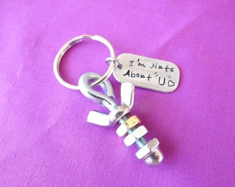 Custom Nuts and Bolts Keychain, Anniversary Keychain, nuts about you, anniversary keychain, Valentines Day Gift