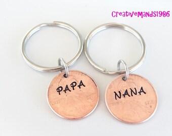 Papa and Nana Keychains, Custom Keychain, Grandparent Keychains, Grandma, Grandpa