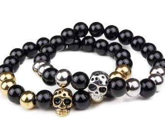 Skull Bracelets Stack -- Bangles, Bracelets Joncs, Charm Bracelets, Bracelets Charms, Leather Bracelet, Bracelet cuir, cuffs, gemstone
