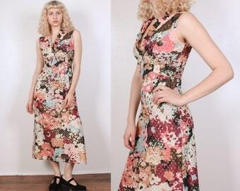 70s Metallic Floral Dress // Vintage Boho Midi Dress Polka Dot - Small to Medium