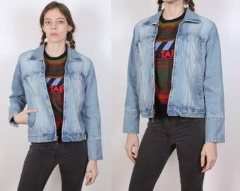 90s Denim Jacket Bill Blass // Vintage Jean Jacket Blue Zip Up Womens - Petite Small