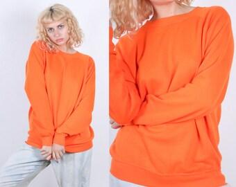 Vintage 80s Sweatshirt // Neon Orange Plain Grunge Pullover Slouchy Raglan Sleeve Normcore - Extra Large xl