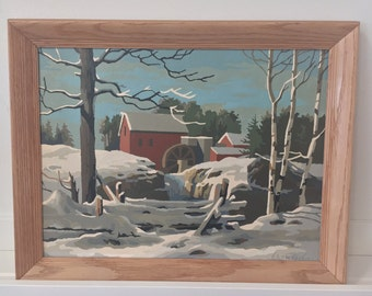 Vintage 70s Paint by Number snowy farm scene landscape PBN