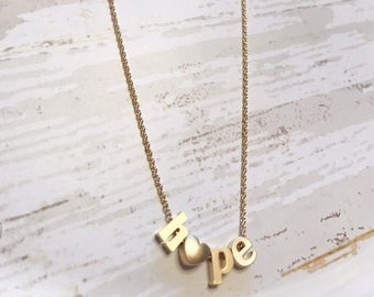 Heart necklace - Hope necklace - Word necklace - Gold necklace - Hope jewelry - Word jewelry - Beaded necklace - Gold jewelry - Gift idea