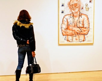 Face to Face photograph, girl looking at a picture, colour poster