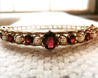 15% OFF SALE! Vintage Garnet and Pearl Gold Bangle Bracelet