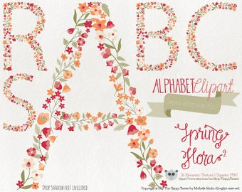 Flowers Clipart 80% OFF! - Alphabet Clipart Letters Spring Flora 2 Flowers Floral Vector Graphics PNG Red Orange