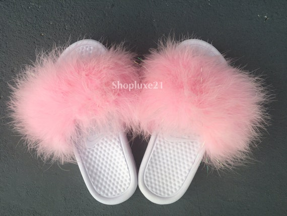 b1c428136 chic Baby pink sparkle faux fur on white nike slides by Luxe21 on Etsy