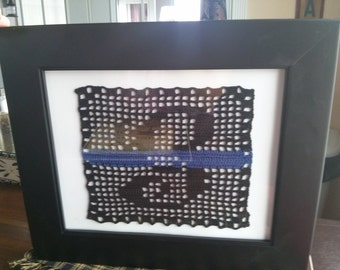 cotton filet crocheted initial with thin blue line