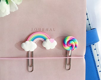 2 x Planner Clips, Polymer Clay Lollipop and Rainbow Page Markers, Bookmarks, Stationery and Planner Accessories