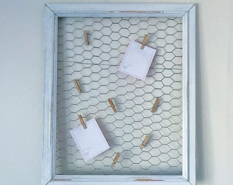 Large shabby chic chicken wire timber photo frame and peg notice board