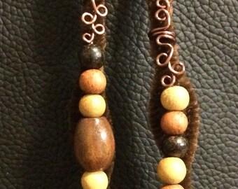 Adorable wooden bead loc jewelry set