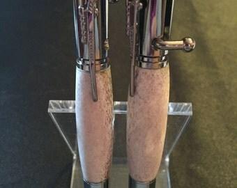 Hand-turned, deer antler, bolt action pen
