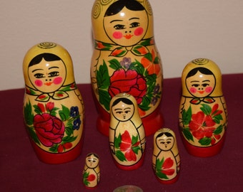 Russian Wooden Painted Rose Nesting Dolls