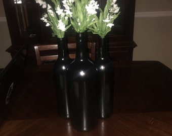 Custom made wine bottles set of 3.