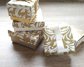 10 pieces Gold boxes, Jewelry packaging, Packaging bracelet, Wedding favor box, Packaging box, Chocolate box , set of different boxes