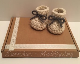 Handmade Crochet Baby Booties! Made and Ready to Ship!! - 0-3 Months.