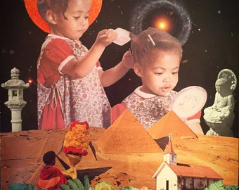 Brushing Out the Stars--Collage Art--African American Art--PRINT