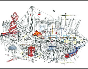 Canary Wharped Card / London Artwork Greeting Card by Garrick Mound