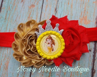 beauty and the beast hair bow, beauty and the beast headband, beauty and the beast hair clip, beauty and the beast hirthday party, hair bow