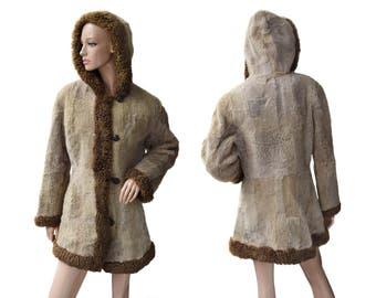 Vintage women fur coat beige brown hooded