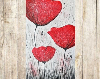 Abstract Poppy Painting Red Poppies Painting Contemporary Wall Art Modern art Abstract Flowers painting Modern painting Red flowers on Gray
