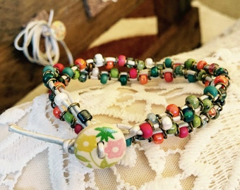 Spring fling wrap bracelet with button clasp