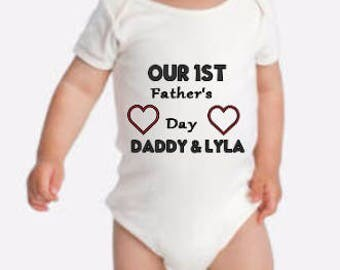 Our First Father's Day Onesie, Our First Father's  Day Shirt, Personalized Father's Day Onesie, Personalized Father's Day Shirt