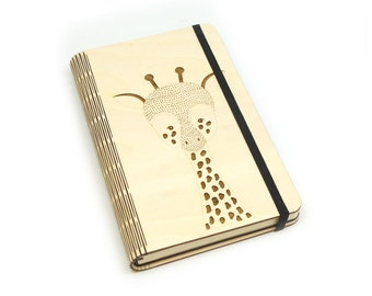 Wooden notebook laser cut 'Long notes'