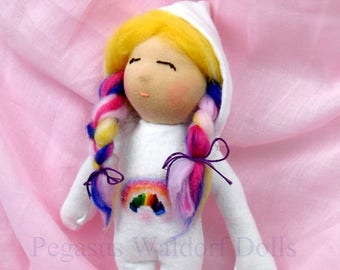 SOLD!! Waldorf, Steiner andorable rainbow sleeping doll, hand made