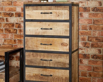 Cosmo industrial tall 6 narrow chest of drawers - Vintage natural wooden look