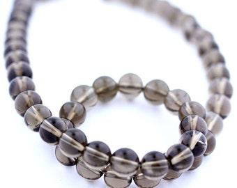 Smokey Quartz Beads 10 x 7mm Smooth Round - 15 Inch Strand Beads