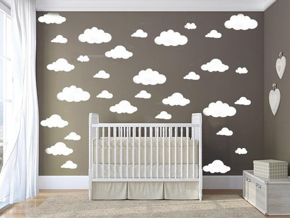 Clouds Pattern Wall Decal Set - Nursery Room Decor - Clouds sticker - Nursery Wall Decal Set - Peel and stick Wall Decal