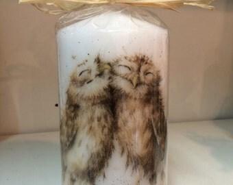 Owl candle, Owl pillar candle, owls candle, woodland pillar candle, Owl home decor, woodland animal candle, wedding  gift, couple gift