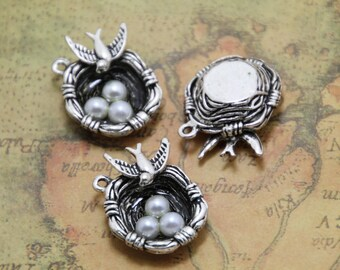 5pcs Bird Nest Charms Silver Tone with 3 Pearl Like Beads Simply Stunning,bird nest pendants 24x23mm ASD0325