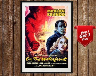 On The Waterfront Vintage Movie Poster (1953) -Marlon Brando, Karl Malden, Classic Movie Print, Classic Movie Poster, Crime Drama