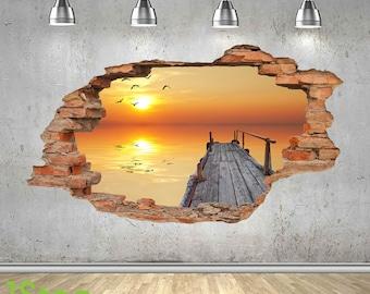 Pier Sunset Wall Sticker 3d Look - Sea Beach Sunset Bedroom Lounge Z425