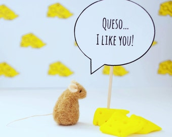 Funny Boyfriend Gift, Best Friend Gift, Love Note, Boyfriend Card, Girlfriend Card, Tiny Felted Mouse, Needle Felted Mouse