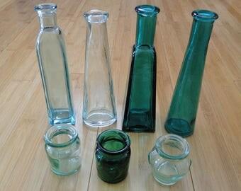 Set of 7 Vintage Glass Bottle Vases with Corks - Set of Glass Vases - Glass Bottles - Vintage glass set - Vintage bottles with Cork