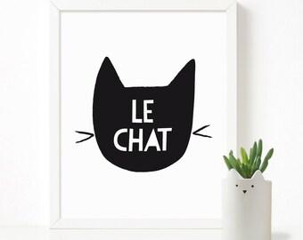 Le Chat poster, feline print, nursery printable wall art, Scandinavian print, nursery decor, nursery art, kids poster
